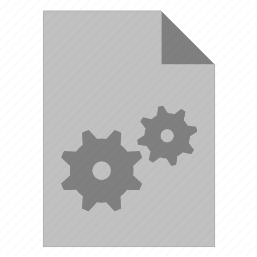 cog, cogwheel, document, file, gear, settings icon