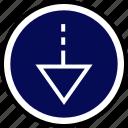 down, menu, nav, navigation, point icon