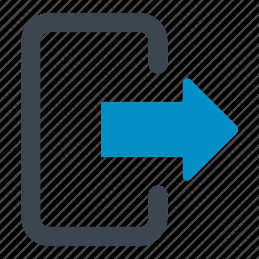 door, escape, exit, exit door, logout, right arrow icon