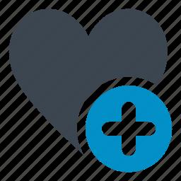 add, add button heart, bookmark, favorite, heart, like icon