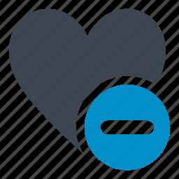 bookmark, delete, favorite, heart, minus, minus button heart icon