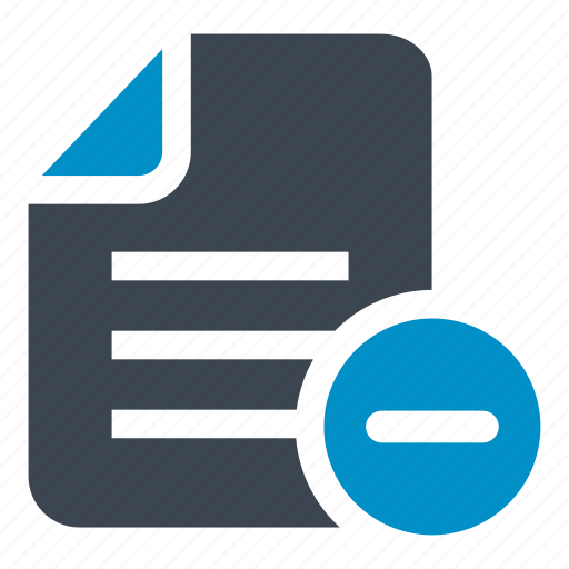 document, file, file minus, minus, subtraction icon