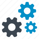 cog, configuration, gears, options, settings, three gears, tools icon