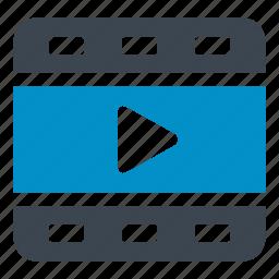 cinema, develop, film, film strip, play, shooting, video icon