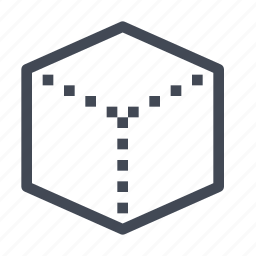 cube, dimensions, modeling, perspective, render, rendering icon