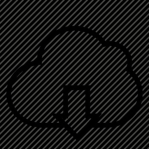 cloud, computing, data, database, down, download, ui icon