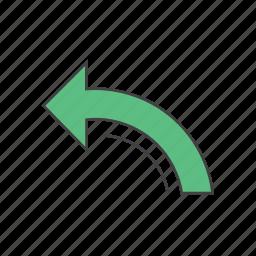 back, backward, direction, go back, left arrow, previous, undo icon