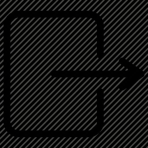 arrow, exit, export, leave, logout, out, signout icon