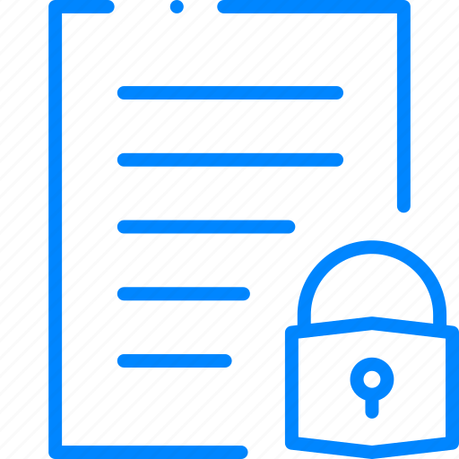 document, file, lock, paper, security icon