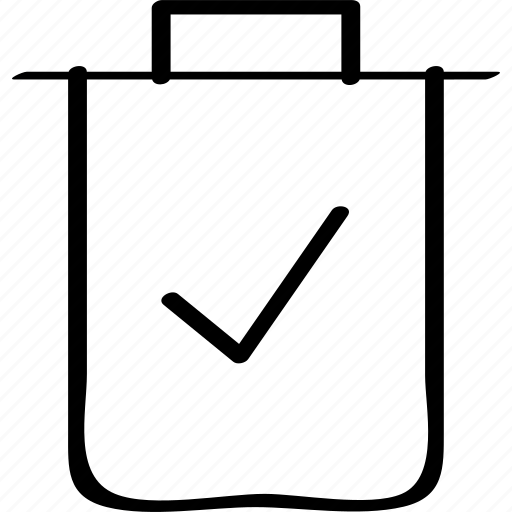 bin, can, check, mark, trash icon