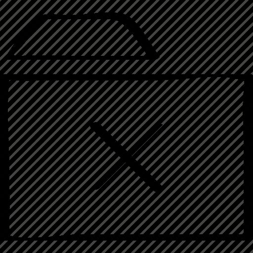 archive, cross, folder icon