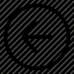 arrow, back, left, left arrow, previous, return icon