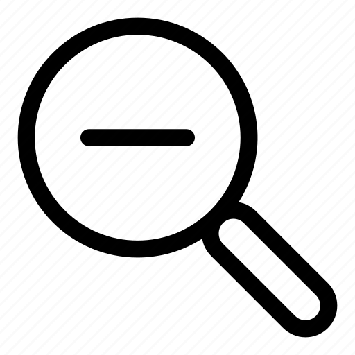 find, magnifying glass, minus, search, zoom icon