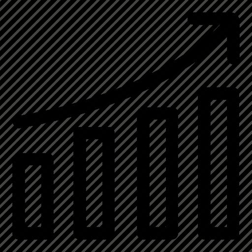 arrow, bars chart, business, chart, diagram, finance icon