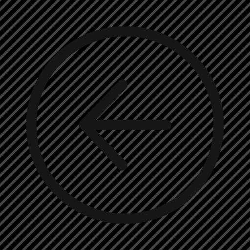 arrow, back, circle, direction, left, navigation, slide icon