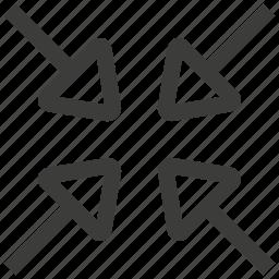 arrows, close, minimize, reduce, ui, window, zoom icon