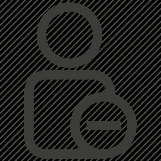 account, avatar, minus, person, profile, remove, user icon