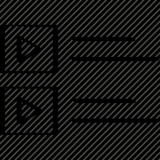 list, videos, web icon