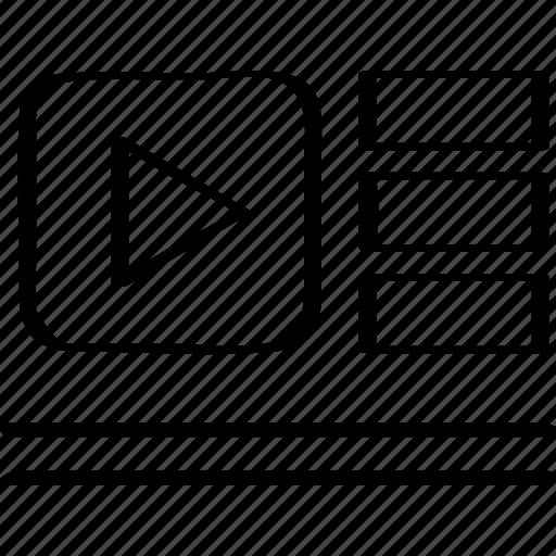 list, tube, youtube icon