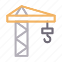 building, construction, crane, hook, lifter icon