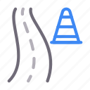 block, cone, construction, highway, road