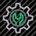cogwheel, gear, repair, setting, wrench