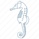 animal, ocean, sea horse, seahorse, tail, tropical, water icon