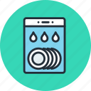 dish, dishwasher, kitchen, wash, water icon