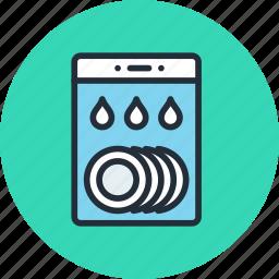 dish, dishwasher, kitchen, wash, water icon