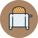 bread, icojam, kitchen, toast, toaster icon