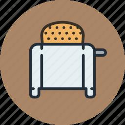 bread, icojam, kitchen, toast, toaster icon