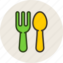 baby, feeding, fork, spoon icon