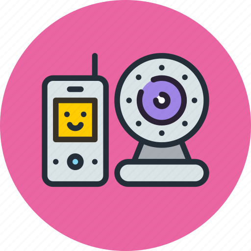 baby, baby monitor, camera, infrared, monitor, radio icon