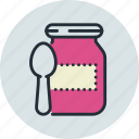 baby, feeding up, food, jam, preserves icon