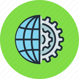 global, internet, network, process, settings, web, work icon