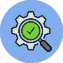 check, gear, optimization, process, search, work icon