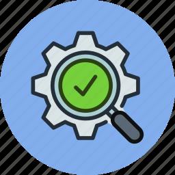 check, gear, optimization, process, search, work icon