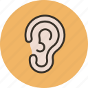 anatomy, biology, ear, hear, medicine, sound icon
