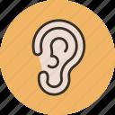 anatomy, biology, ear, hear, medicine, sound icon
