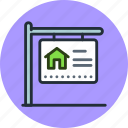 building, for, house, sale, sign icon
