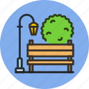 bench, light, park, recreation, street, tree icon