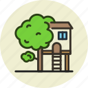 house, tree, treehouse