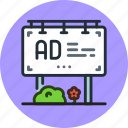 ad, advertisement, advertising, billboard, board icon