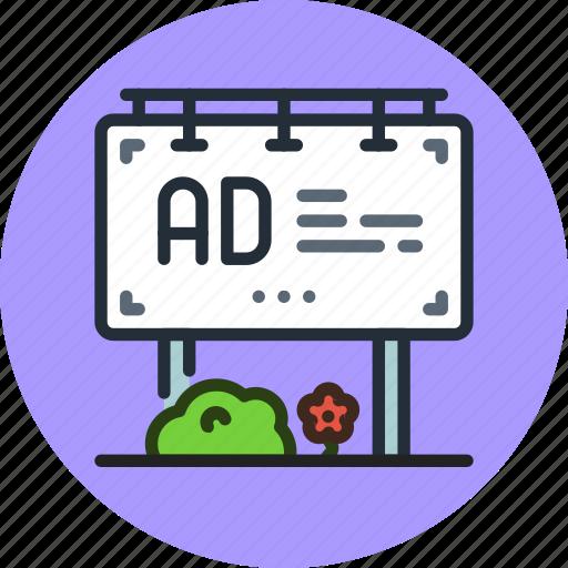 ad, advertisement, advertising, billboard, board icon