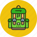 backpack, bag, camping, hike, school, student icon