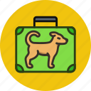 baggage, dog, flight, luggage, trip