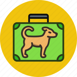 baggage, dog, flight, luggage, trip icon