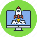 app, business, desktop, launch, process, rocket, start icon