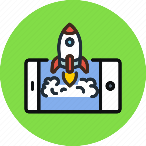 app, business, launch, mobile, process, rocket, start icon