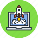 app, business, laptop, launch, process, rocket, start icon